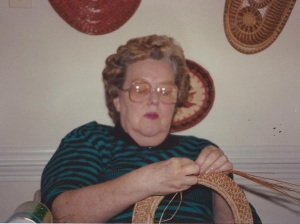 Mom working on a basket
